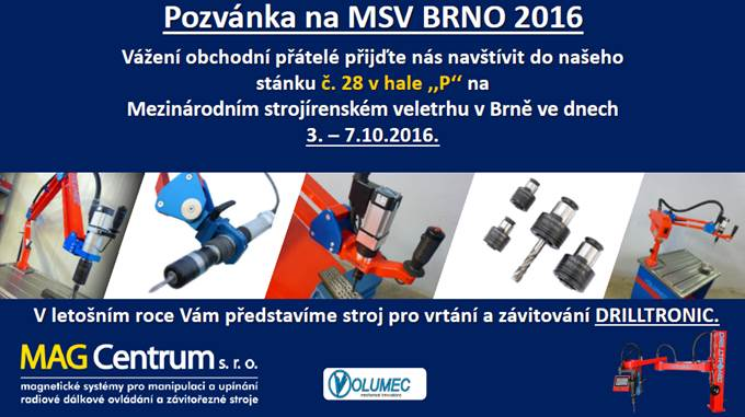 MSV FAIR BRNO 2016 FROM 3 TO 7 OCTOBER 2016